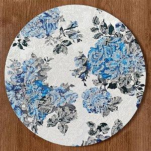Sousplat Jacquard floral azul