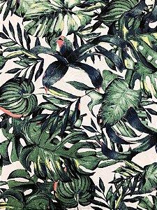 Tecido Jacquard Costela De Adão folhas verde