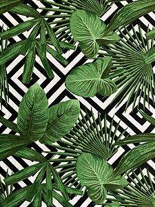 Tecido Jacquard folhas verde geométrico