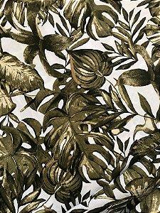 Tecido Jacquard Costela De Adão folhas verde musgo