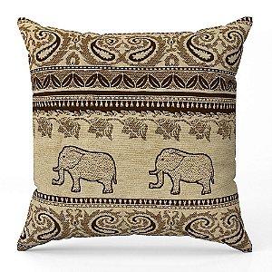 Capa de almofada Jacquard indiano bege marrom