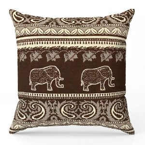 Capa de almofada Jacquard indiano marrom bege