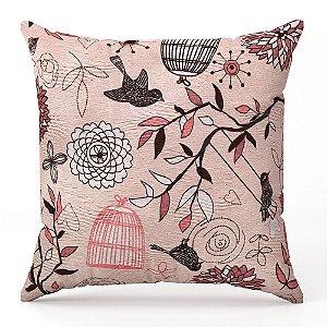 Capa de almofada Jacquard pássaro rosa