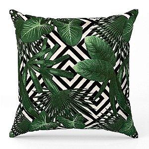 Capa de almofada Jacquard folhas geométrico