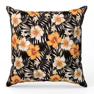 Capa de almofada Jacquard floral preto laranja