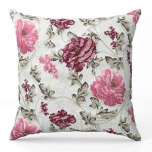 Capa de almofada Jacquard floral rosa