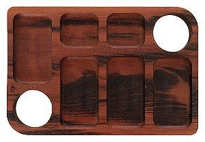 Petisqueira retangular com paliteiro 6 divisórias