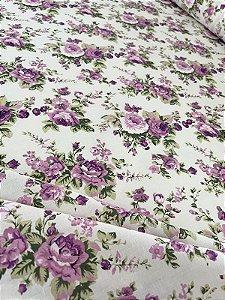 Tecido Tricoline flores bege lilás