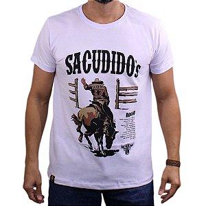 Camiseta Sacudido's - Historia Rodeio - Branco