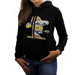 Moletom Feminino Sacudido´s - Logo Etnico - Preto