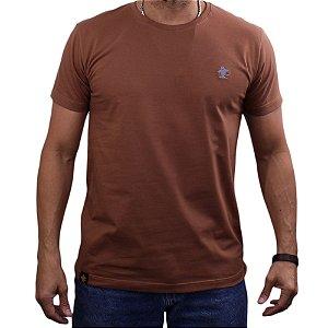 Camiseta Sacudido's - Básica - Marrom-Mescla Claro