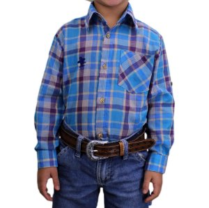 Camisa Manga Longa Sacudido's Infantil-Xadrez Azul