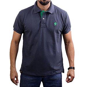 Camiseta Polo Sacudido's - Chumbo-Verde Bandeira