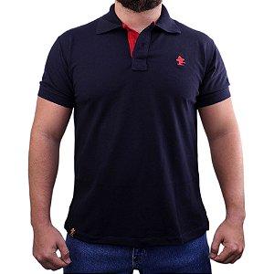Camiseta Polo Sacudido's - Marinho Noite-Vermelho