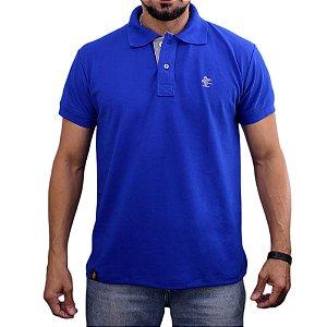 Camiseta Polo Sacudido's - Azul Bic-Cinza