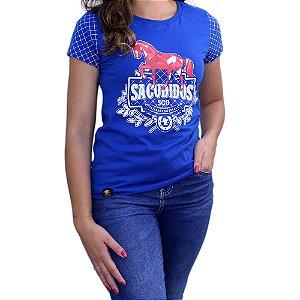 Camiseta Sacudido's Feminina -Cavalo Geo-Azul Real