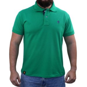 Camiseta Polo Sacudido's - Verde Bandeira / Chumbo