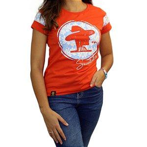 Camiseta Sacudido's Feminina - Logo Floral - Brasa