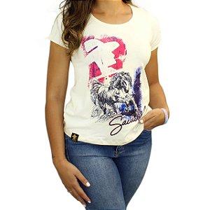 Camiseta SCD's Viscolycra Fem-Cavalo Pintura-Creme