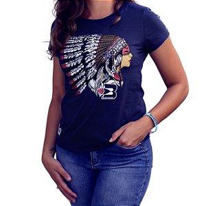 Camiseta BÃO NU MUNDO Feminina - Índia - Marinho