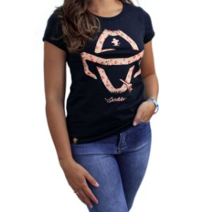 Camiseta Sacudido's Feminina - Logo Floral - Preto