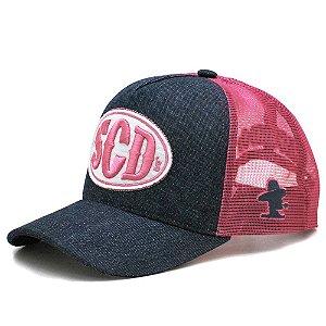 Boné Trucker SCD Jeans e Tela Pink Bordado Alto Relevo