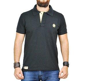 Camiseta Polo Sacudido's - Preta com Amarelo
