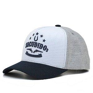 Boné Sacudido's Azul, Branco e Cinza - Com Detalhe Silkado