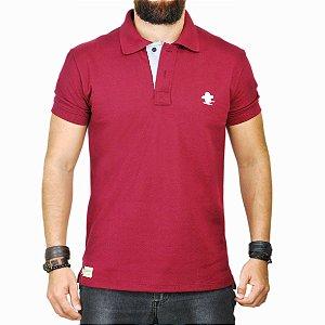 Camiseta Polo Sacudido's - Vinho e Cinza
