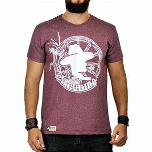 Camiseta Sacudido's - Roda de Carroça Vinho Mescla