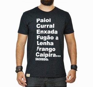 Camiseta Sacudido's - Palavras - Preta