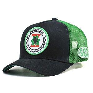 Boné Sacudido's Profissão Zootecnia - Preto e Verde com aplique frontal