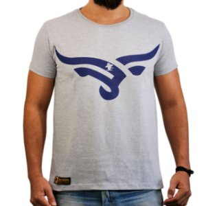 Camiseta Sacudido's - Boi Estilizado - Cinza Mescla e Azul