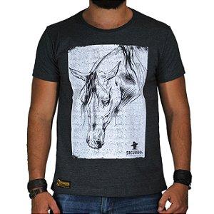 Camiseta Sacudido's Cavalo Preto Mescla