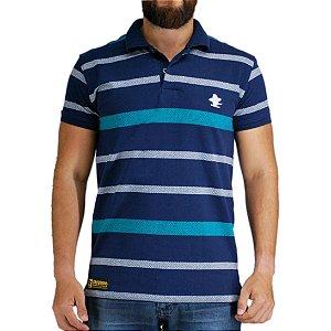 Camiseta Polo Granfino Sacudido's - Marinho Listras