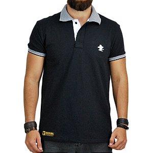Camiseta Polo Granfino Sacudido's - Preta Gola Trabalhada