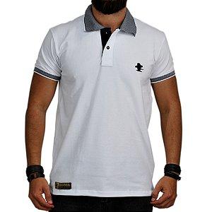 Camiseta Polo Granfino Sacudido's - Branca Gola Trabalhada
