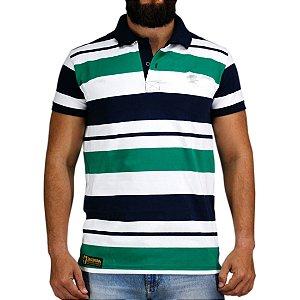 Camiseta Polo Granfino Sacudido's - Branca Azul e Verde