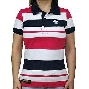 Camiseta Polo Feminina Sacudido's Elastano Listrada - Branca, Rosa e Azul