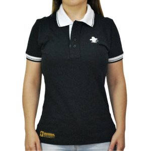 Camiseta Polo Feminina Sacudido's Elastano - Preto e Gola Branca