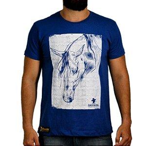 Camiseta Sacudido's Cavalo Estilizado Azul