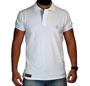 Camiseta Polo Granfino Sacudido's - Branco Bordado Cinza