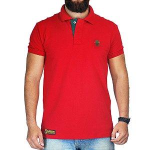Camiseta Polo Granfino Sacudido's - Vermelho Bordado Verde