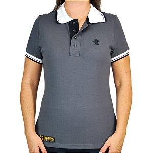 Camiseta Polo Feminina Sacudido's Elastano - Chumbo Gola Branca