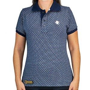 Camiseta Polo Feminina Sacudido's Elastano - Marinho Floral