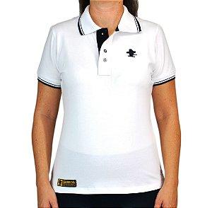 Camiseta Polo Feminina Sacudido's Elastano - Branca Gola Trabalhada