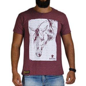 Camiseta Sacudido's Cavalo Estilizado Vinho Mescla