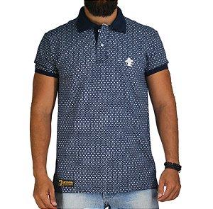 Camiseta Polo Sacudido's Elastano - Marinho Floral