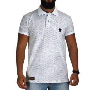 Camiseta Polo Sacudido's Elastano - Branca Floral