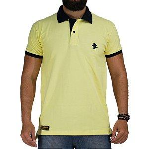 Camiseta Polo Sacudido's Elastano - Amarelo Gola Preta